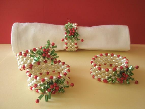 Items similar to hand beaded napkin rings set of
