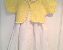 Yellow baby cardigan girl sweater top baby shower gift baby clothes knitted bolero yellow cardigan knitted baby clothes handmade newborn
