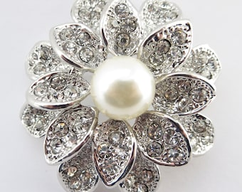 Rhodium Antique Flower Rhinestone Brooch with Ivory Pearl Center