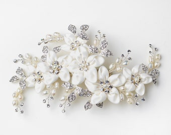 Ivory Matte Satin Fabric Flower Hair Clip with Sprigs of Freshwater Pearls & Rhinestones