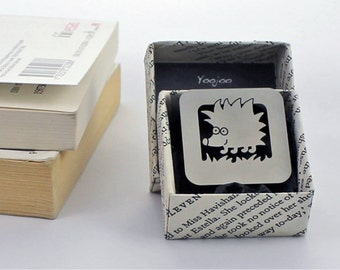 Hedgehog bookmark in hand made origami gift box Clip on stainless steel bookmark