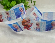 """1""""25mm Wholesale 100 yards Disney Princess Inspired FROZEN Movie Elsa&Anna Olaf Printed Characters Grosgrain Ribbon Hairbow by the yard #9"""
