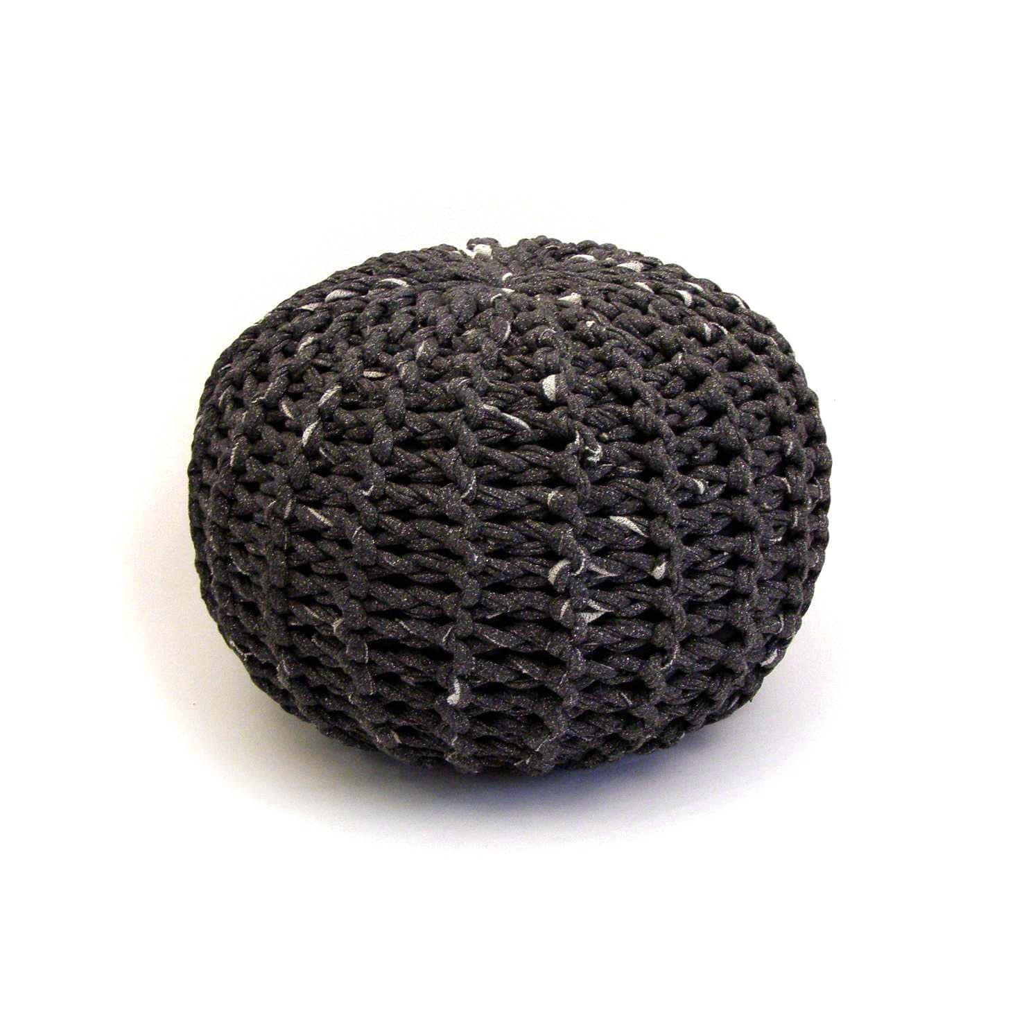 knitted charcoal pouf handmade knitted pouf ottoman by tayostudio