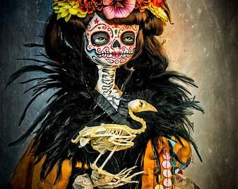 Beautiful Mortal Dia De Los Muertos Doll Holding Bird Skeleton PRINT 425 Reproduction