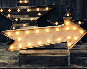 Marquee Arrow (Relic // Patina // Fun Fair Sign & Light // Vintage themed // Wedding // Distressed // Home lighting)
