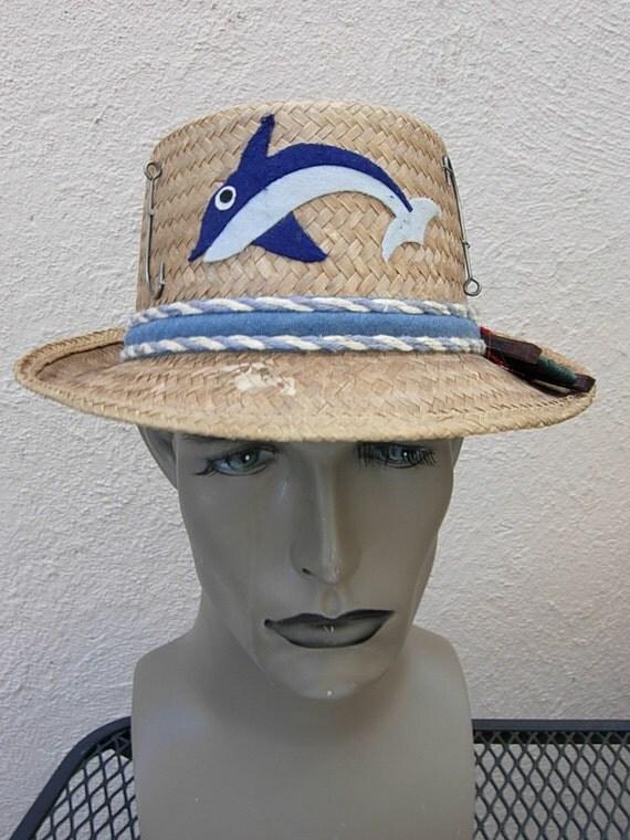 Amazing 1940s fishing straw hat size 7 for Fishing straw hat