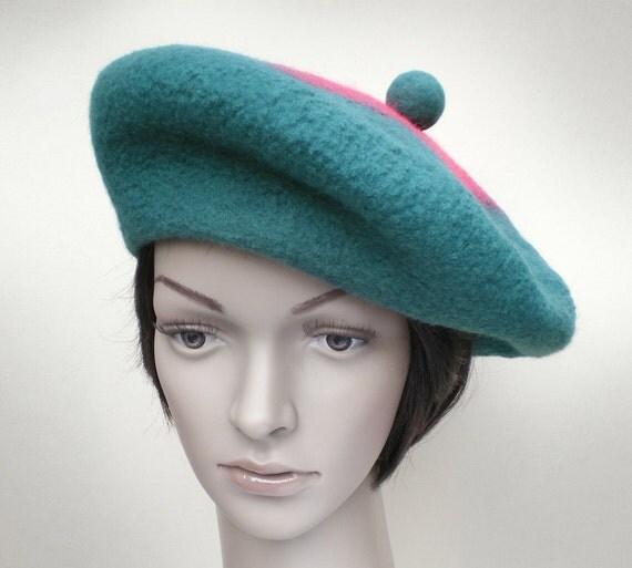 green hat felt beret teal and pink beret womens winter hats
