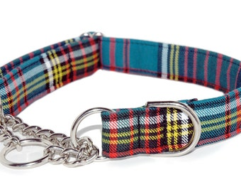Tartan Chain Martingale Collar in your choice of Tartan and 1 inch or .75 inch widths
