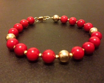 Red & Gold Filled Beaded Bracelet