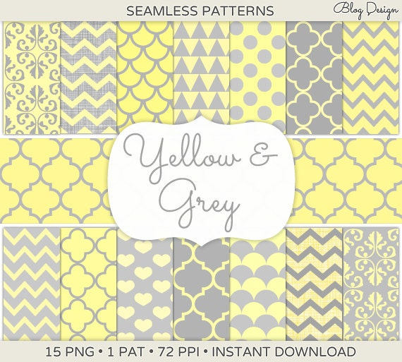 Yellow and Grey Blog Backgrounds Tileable Patterns by ...