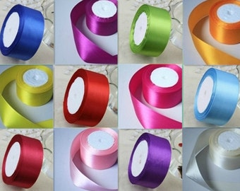 25 Yards 4cm Wide 28 Solid Colors Satin Ribbon - You Pick the Color - DIY Ribbon - one roll