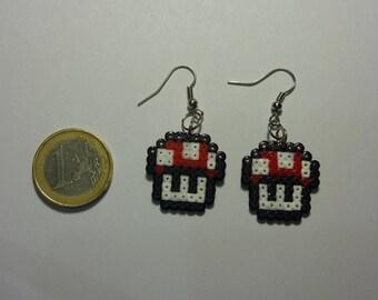 Pair of earrings / mushroom earrings, supermario