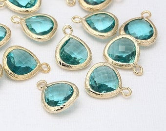 Blue Zircon Glass Pendant(Small) Polished Gold -Plated - 2 Pieces <G0008-PGBZ>
