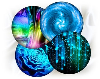 """Neon Abstraction - digital collage sheet bottle cap images - 1'' circles, 25mm, 30mm, 1.25"""", 1.5"""" for Jewelry Making, BUY 2 GET 1 FREE"""
