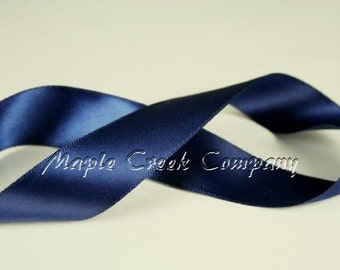 "5 yards of Navy Blue Double Face Satin Ribbon, 1-1/2"" x 5 yards"
