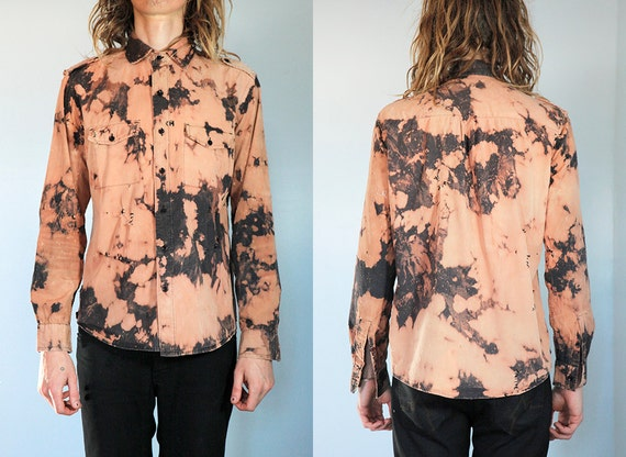 Psychedelic Grunge: Bleached out Tiedye Black Buttondown. Size Small. Destroyed with bullets and dye.