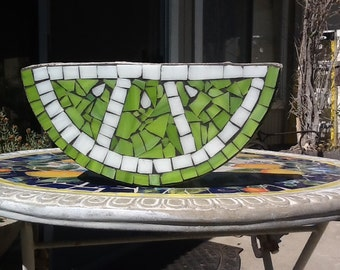 12 in. Stained glass lime slice stepping stone