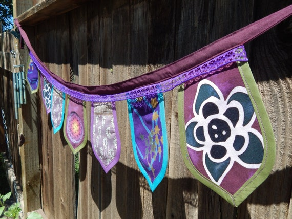 Ooak Colorful Double Sided Gypsy Flower Of Life Prayer Flags