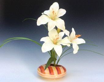 Orange Ikebana Vase, Porcelain Vase, Ceramic Vase, Striped Pottery Vase, Ceramic Ikebana Vase, Wheel Thrown Pottery Vase, Asian Flower Vase