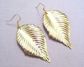 Gold Plated Leaf Earrings, Elongated Corrugated Golden Leaf Pierced Earrings