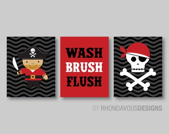 Kid Bathroom Art - Child Bathroom Art - Pirate Bathroom Art - Pirate Bathroom Decor - Bathroom Rules - Pirate Wall Art Print. Canvas. NS-373
