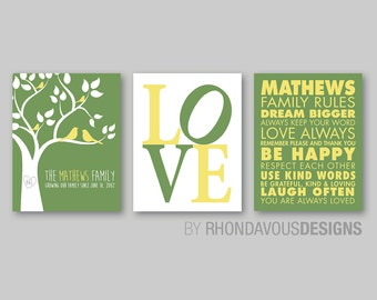 Monogrammed Family Tree Wall Print Art - Family Rules Print - Family Tree Print - Love Print - Family Wall Art - Personalized Gift  (NS-476)