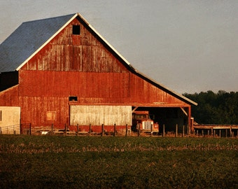 Red Barn 2 Rustic Home Decor Indiana Landscape Decor Country Living Wall Art Fine Art Photography
