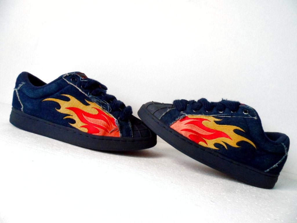 rare 90s buffalo flame denim blue jean sneakers. Black Bedroom Furniture Sets. Home Design Ideas