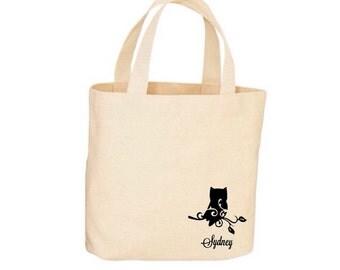 Beach Tote - Owl Tote - Beach Bag, Tote Bag - Natural Cotton - Personalized Tote, Shopping Bag, Bridesmaid Tote, Wedding Tote