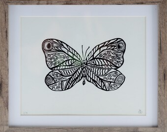 Butterfly lino cut print, hand printed, limited edition