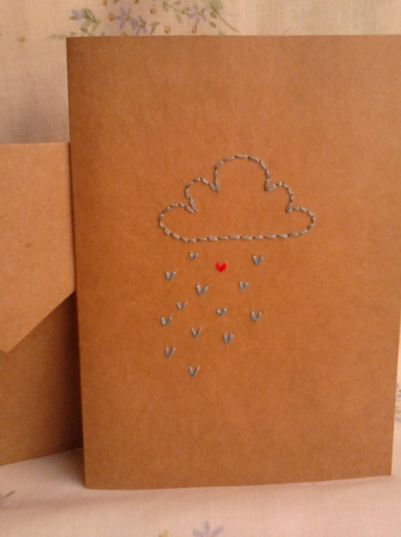 Embroidered Heart Rain Cloud Greeting Card