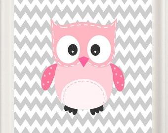 Owl Nursery Art Pink and Grey Girl's Room Baby Shower, New Baby