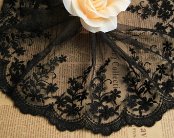 Black Lace,Embroidery Gesang Lace,  Floral Lace,Tulle Gauze Lace Trims 5.11 Inches Wide 2 yards E8012