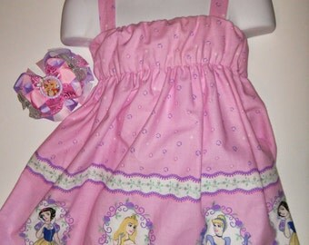 Princess Aurora Snow White Cinderella Sleeping Beauty Boutique Birthday Party Summer Sun Dress! Optional Bow Available! Sizes 3, 4, 5, 6