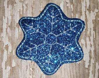 Set of 4 Frozen Snowflakes Glitter Feltie Felt Embellishment Bow Felties Applique Party Snowflake Snow Flakes Flake Birthday Party Planner