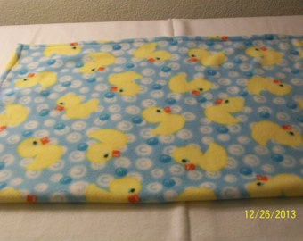 "Blue with yellow ducks baby fleece blanket 27 1/2"" X 37"" READY TO SHIP"