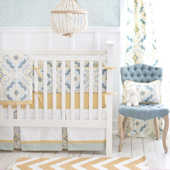Aqua And Yellow Gold Unisex Crib Bedding By Newarrivalsinc