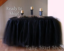 Ready to Ship 17 foot, Black Tulle Table Skirt