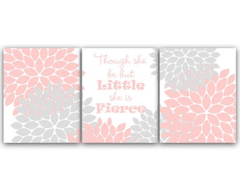 Pink and Gray Nursery CANVAS Prints, Though She Be But Little She Is Fierce, Nursery Wall Art, Kids Wall Art, Floral Nursery Art - KIDS62