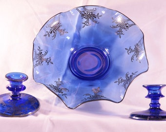 Exquisite vintage cobalt blue with silver overlay console set, centerpiece bowl and candle holders, Paden City 1930's