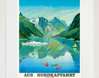 Travel Poster Norway Art Print Vintage Nordic Home Decor (TR135)