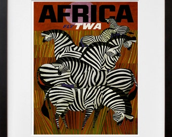 Africa Travel Poster Zebra Art Print Home Decor (ZT379)