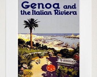 Genoa Italy Retro Poster Italian Art Travel Poster Wall Art Print (XR172)