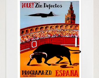 Spain Bullfighting Vintage Travel Poster Wall Art Print (ZT404)