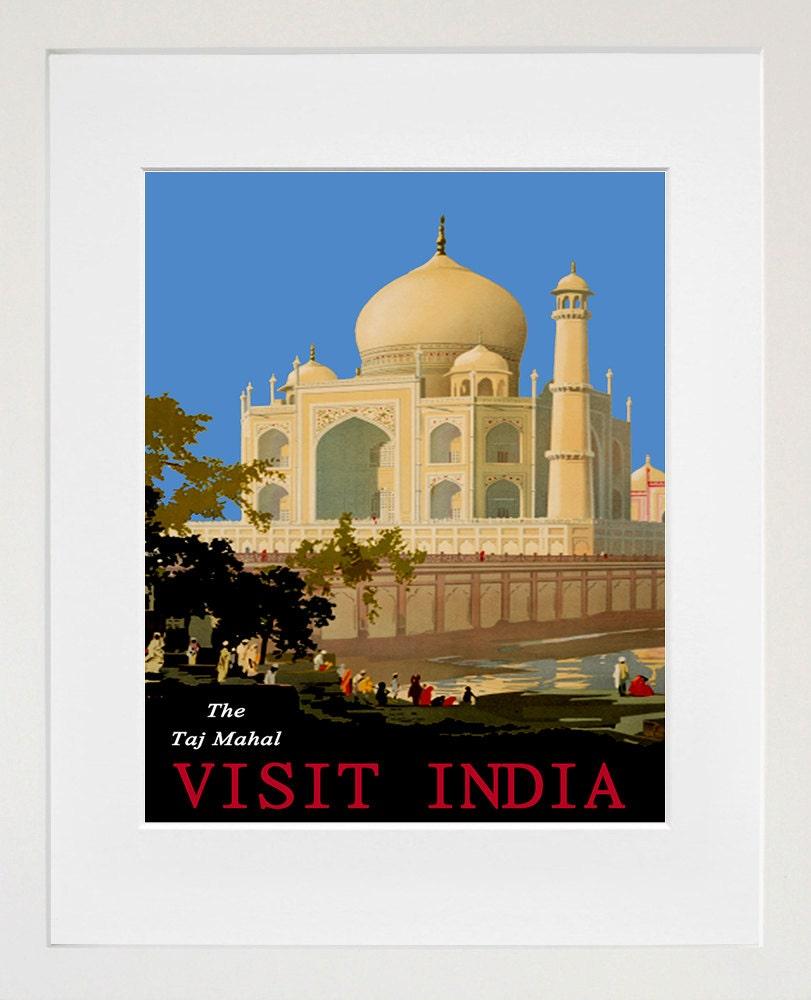 Taj Mahal India Art Home Decor Travel Poster Print By Blivingstons