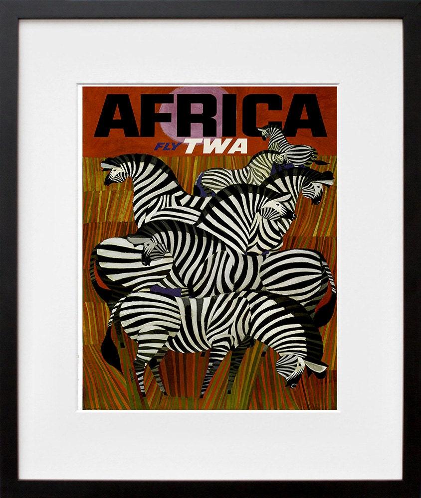 Africa travel poster zebra art print home decor zt379 for Zebra home decorations