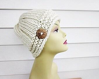 tan  beanie , chunky beanie ,  knit hat with button