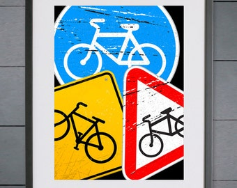 EllieBeanPrints Cycling Road Signs Grunge Print - Various Sizes