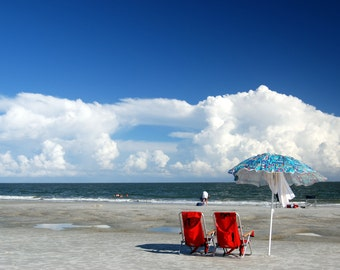 The Red Chairs, On beach Hilton Head Island, South Carolina,Orignal Fine Art Photography