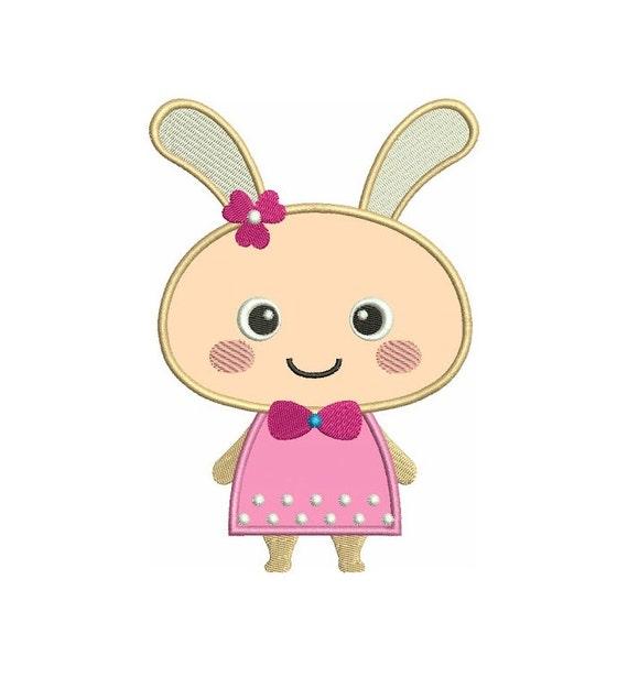 Bunny rabbit applique machine embroidery digitized design
